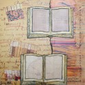 Butler Series - Open Books - Collage, paper, digital photos, ink on wooden block (20 x 20cm)