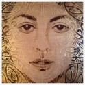 Making Their Mark - Maori Girl III - Acrylic and Gold Leaf on Oak Board (1100 x 1100)